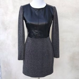 Club Monaco Leather Boucle Long Sleeve Dress EUC